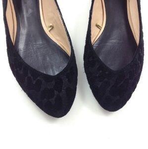 Zara Black Suede Animal Print Pointed Ballet Flats